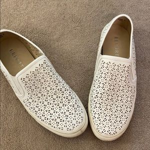 White Perforated Slip-On Sneakers Sz 9